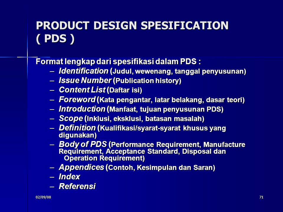 PRODUCT DESIGN SPESIFICATION ( PDS )‏