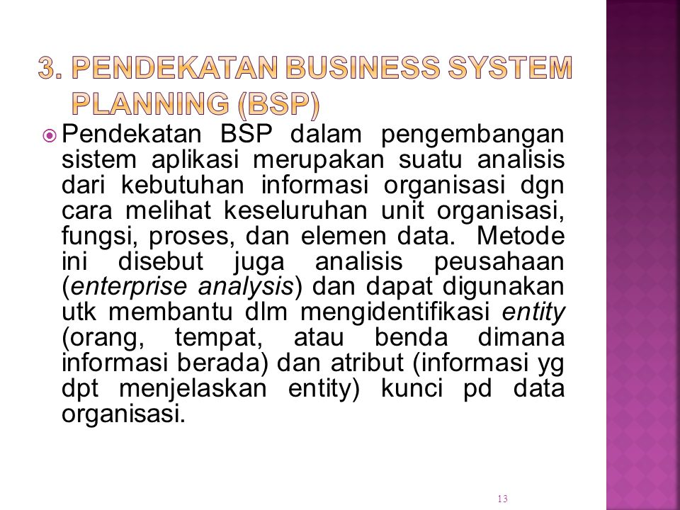 3. Pendekatan Business System Planning (BSP)