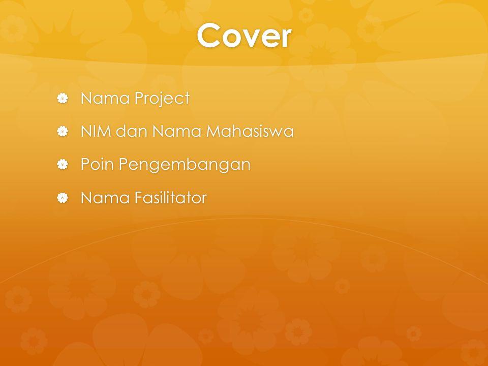Cover Nama Project NIM dan Nama Mahasiswa Poin Pengembangan