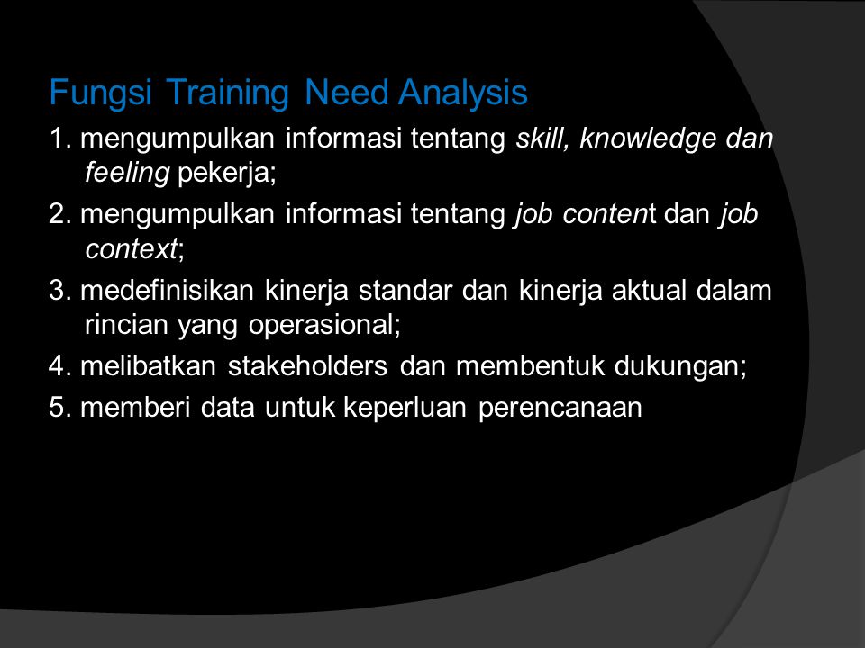 Fungsi Training Need Analysis