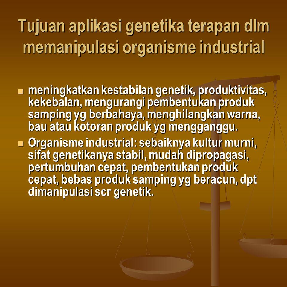 Tujuan aplikasi genetika terapan dlm memanipulasi organisme industrial