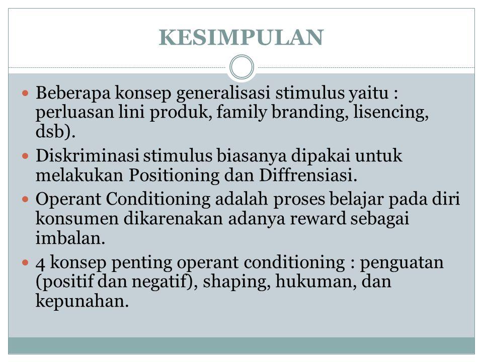 KESIMPULAN Beberapa konsep generalisasi stimulus yaitu : perluasan lini produk, family branding, lisencing, dsb).