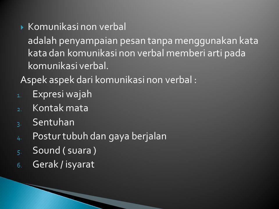 Komunikasi non verbal adalah penyampaian pesan tanpa menggunakan kata kata dan komunikasi non verbal memberi arti pada komunikasi verbal.