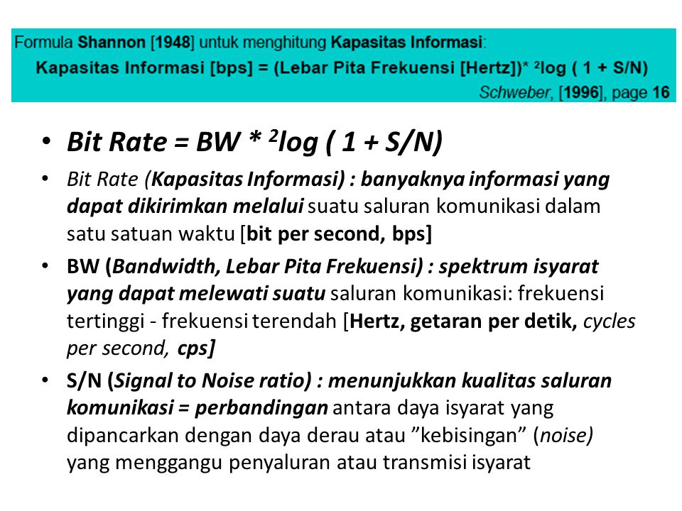 Bit Rate = BW * 2log ( 1 + S/N)