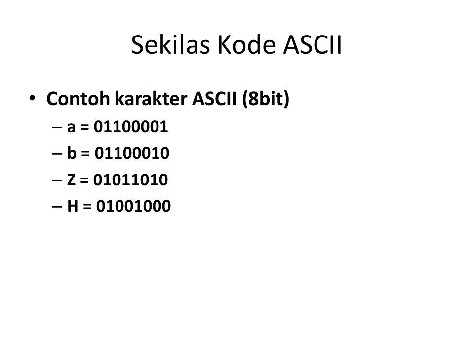 Sekilas Kode ASCII Contoh karakter ASCII (8bit) a = 01100001