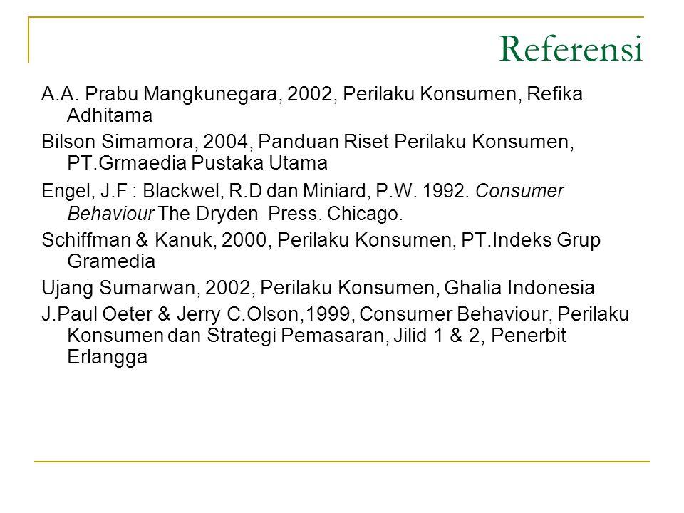 Referensi A.A. Prabu Mangkunegara, 2002, Perilaku Konsumen, Refika Adhitama.