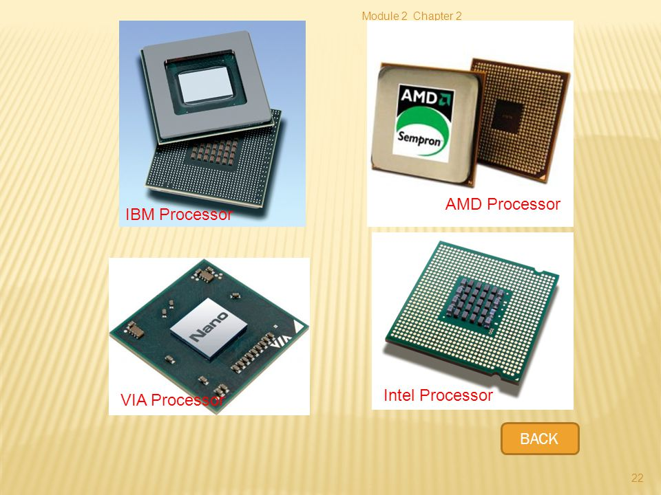AMD Processor IBM Processor Intel Processor VIA Processor BACK