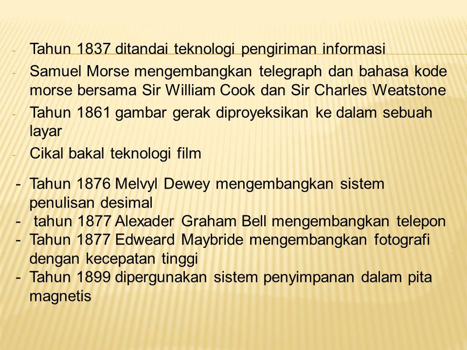 Tahun 1837 ditandai teknologi pengiriman informasi