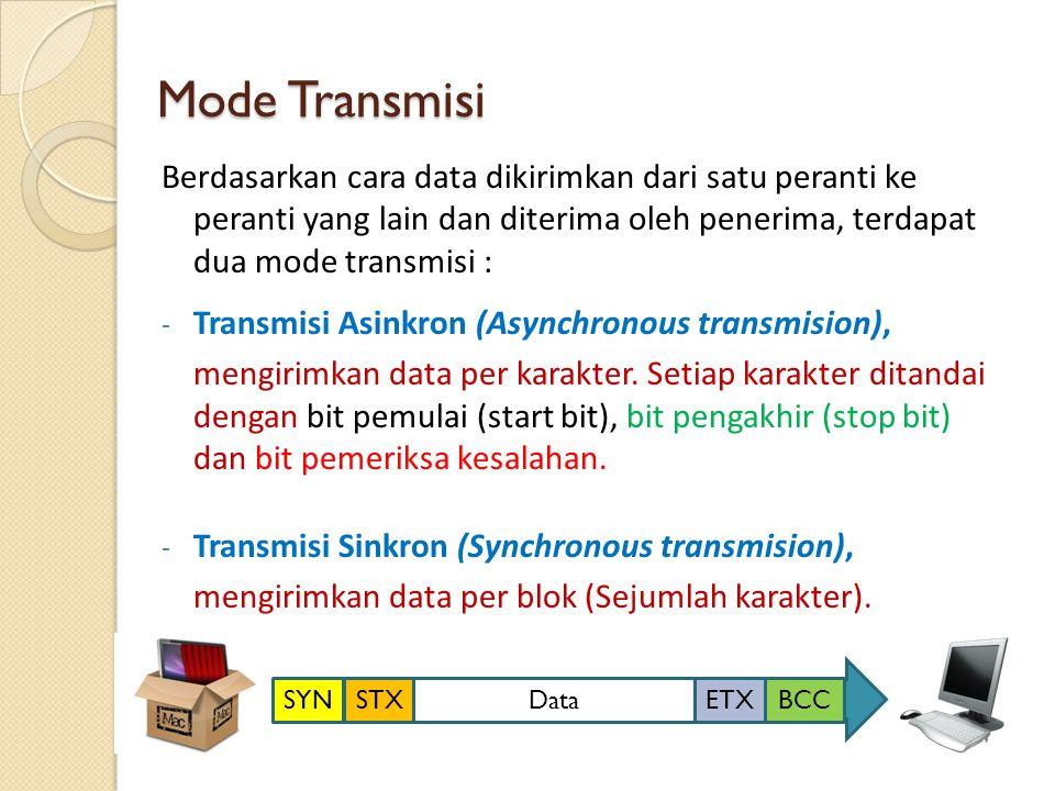 Mode Transmisi Berdasarkan cara data dikirimkan dari satu peranti ke peranti yang lain dan diterima oleh penerima, terdapat dua mode transmisi :
