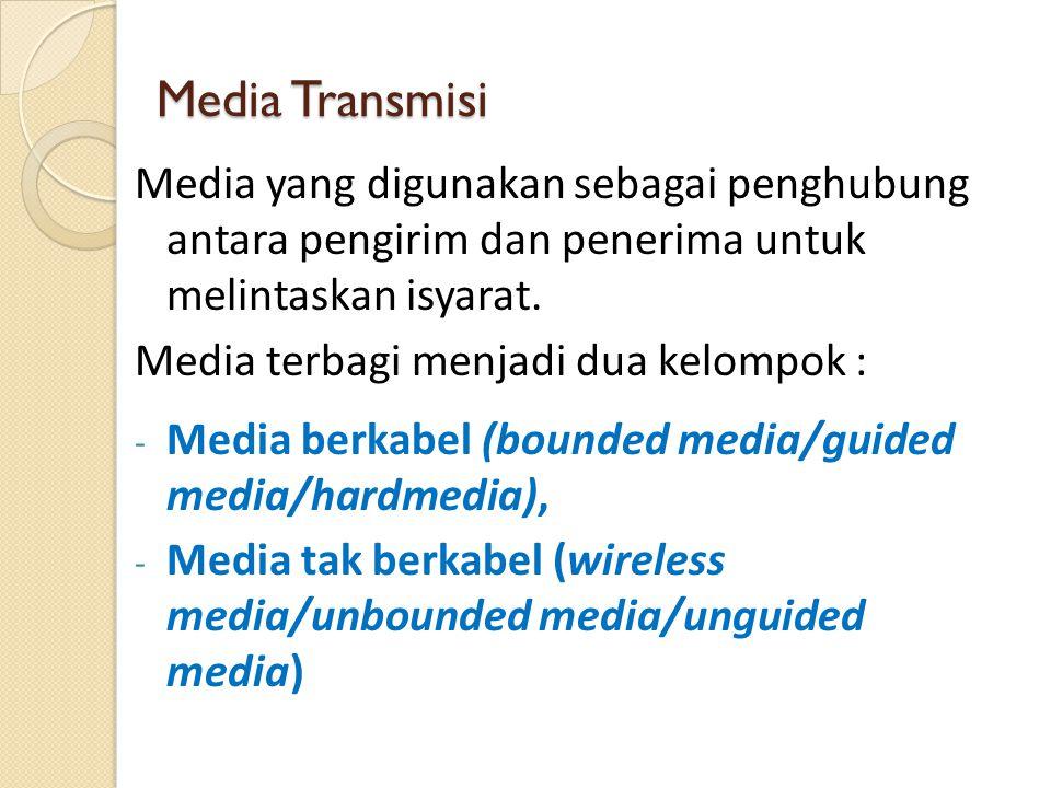 Media Transmisi Media yang digunakan sebagai penghubung antara pengirim dan penerima untuk melintaskan isyarat.