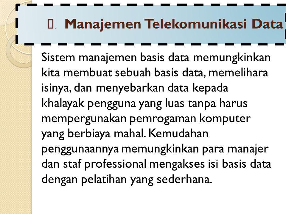 B. Manajemen Telekomunikasi Data