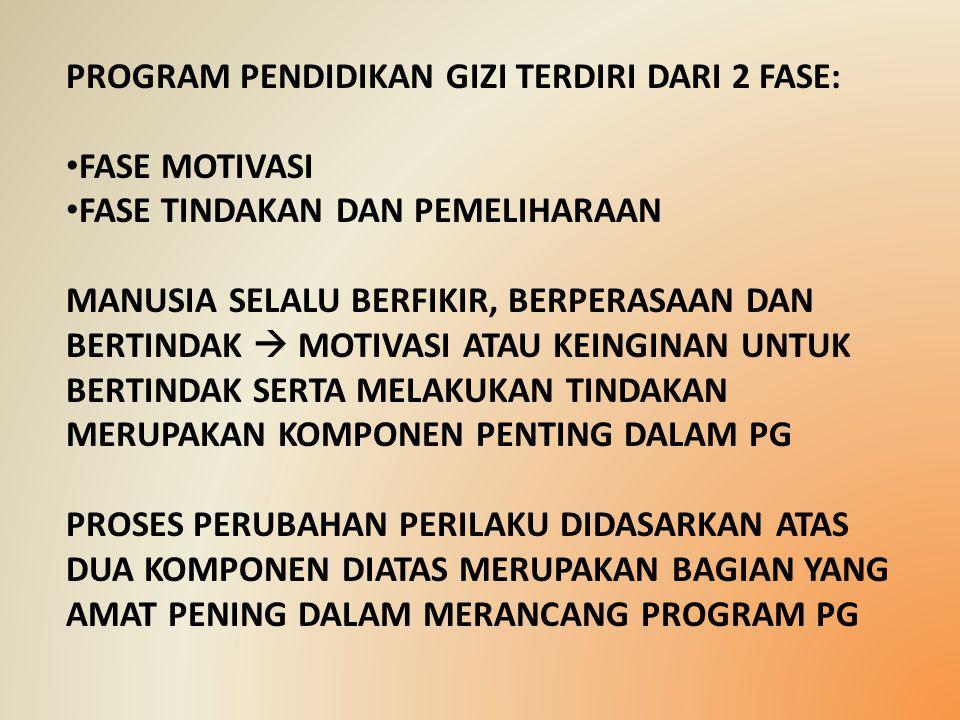 PROGRAM PENDIDIKAN GIZI TERDIRI DARI 2 FASE: