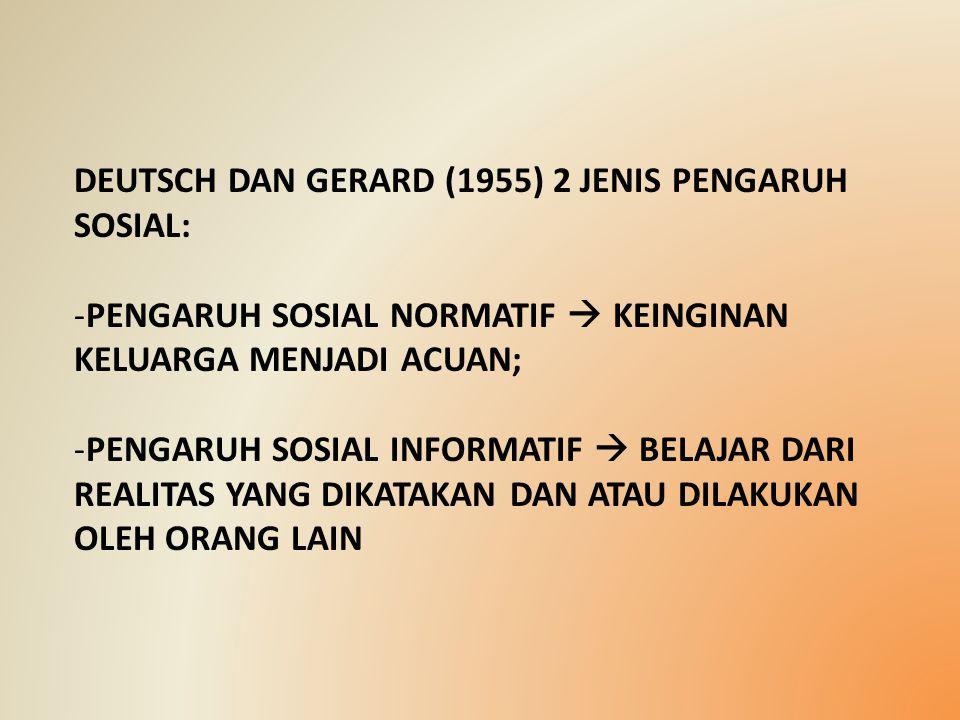 DEUTSCH DAN GERARD (1955) 2 JENIS PENGARUH SOSIAL: