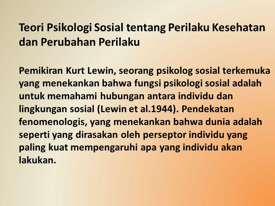 Teori Psikologi Sosial tentang Perilaku Kesehatan dan Perubahan Perilaku