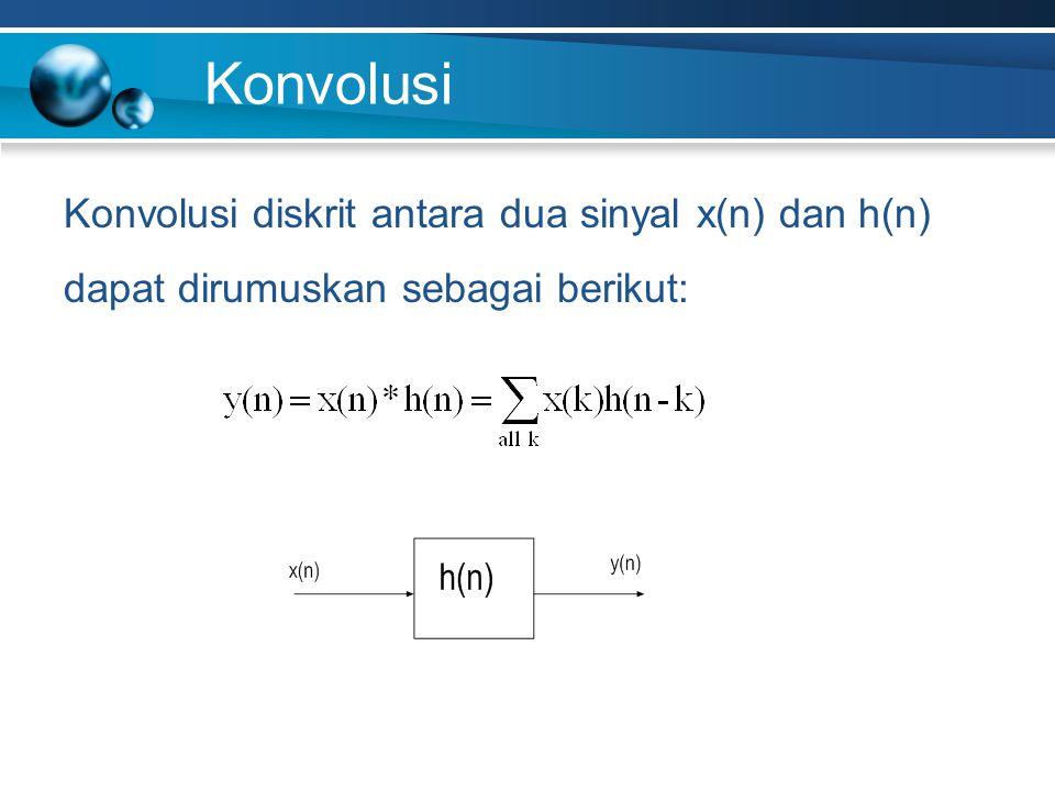 Konvolusi Konvolusi diskrit antara dua sinyal x(n) dan h(n) dapat dirumuskan sebagai berikut: