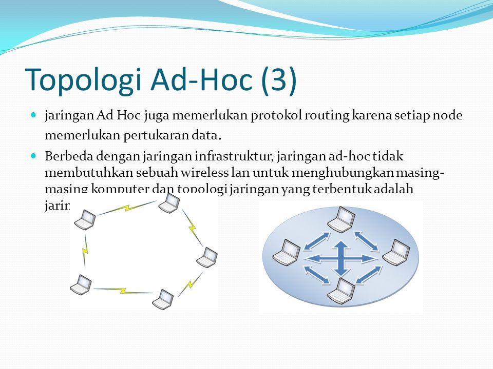 Topologi Ad-Hoc (3) jaringan Ad Hoc juga memerlukan protokol routing karena setiap node memerlukan pertukaran data.