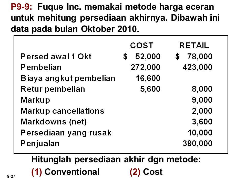P9-9: Fuque Inc. memakai metode harga eceran untuk mehitung persediaan akhirnya. Dibawah ini data pada bulan Oktober 2010.