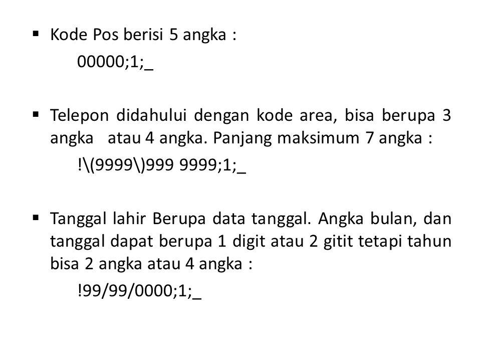 Kode Pos berisi 5 angka : 00000;1;_. Telepon didahului dengan kode area, bisa berupa 3 angka atau 4 angka. Panjang maksimum 7 angka :