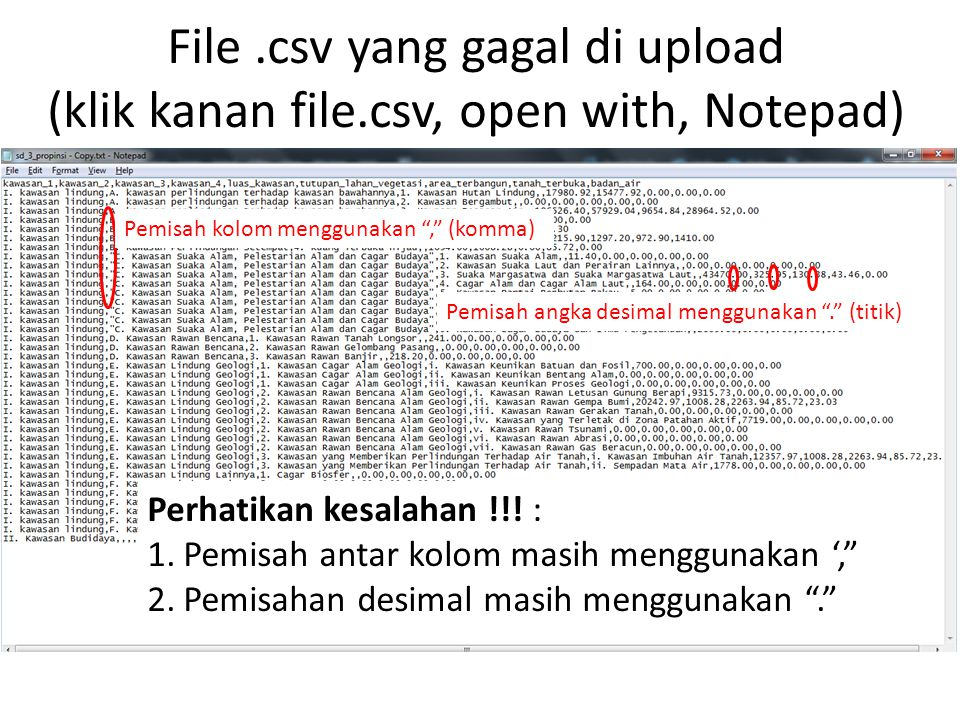 File. csv yang gagal di upload (klik kanan file