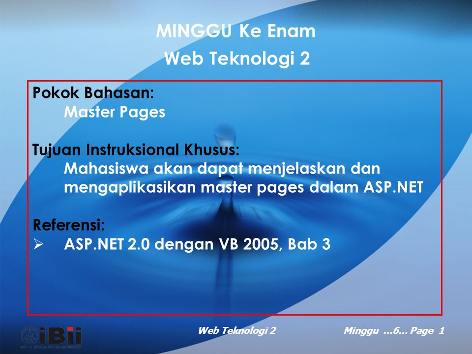 MINGGU Ke Enam Web Teknologi 2