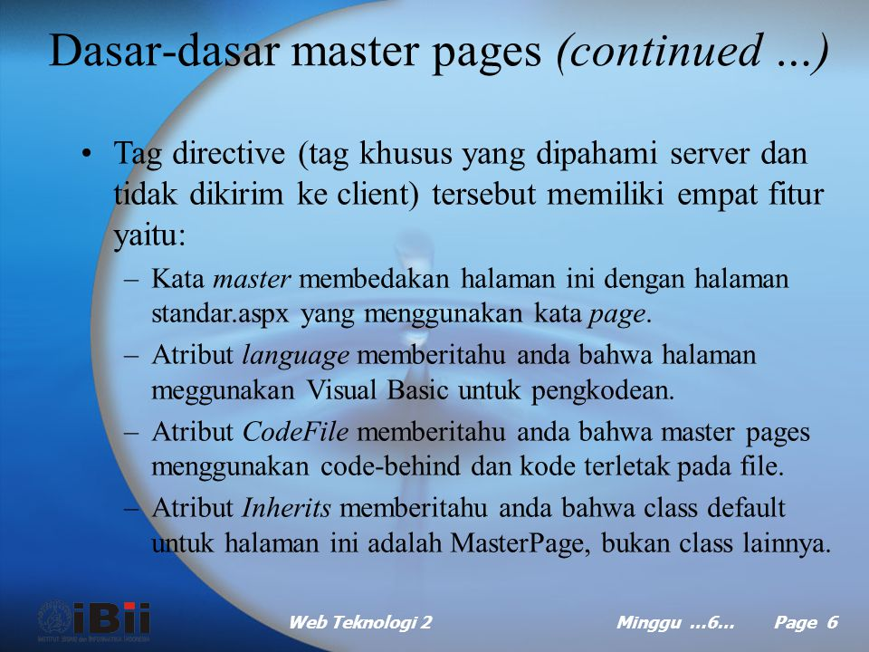 Dasar-dasar master pages (continued …)