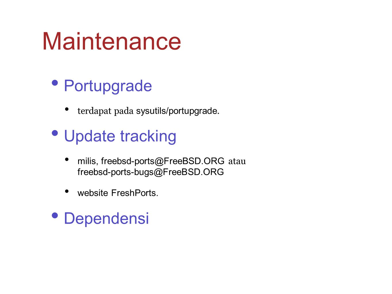 Maintenance Portupgrade Update tracking Dependensi