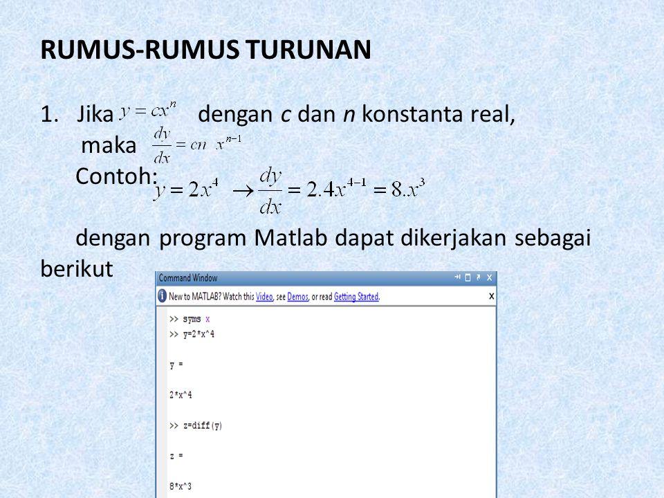 RUMUS-RUMUS TURUNAN 1.