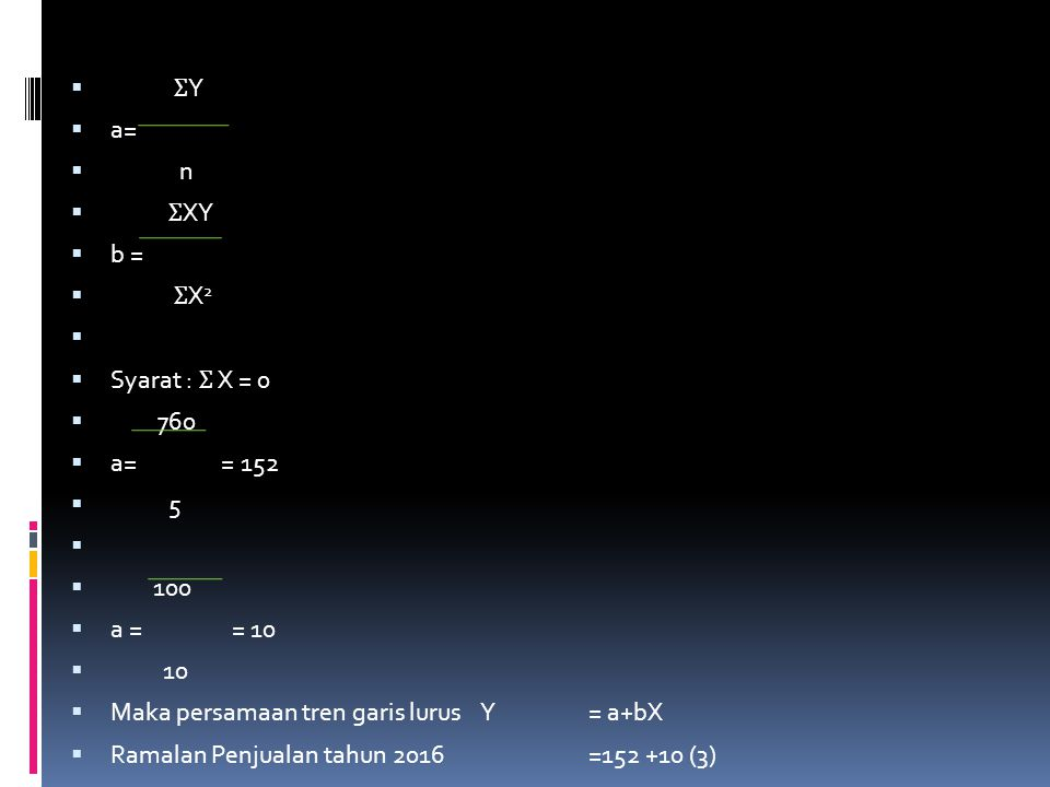 ƩY a= n. ƩXY. b = ƩX2. Syarat : Ʃ X = 0. 760. a= = 152.
