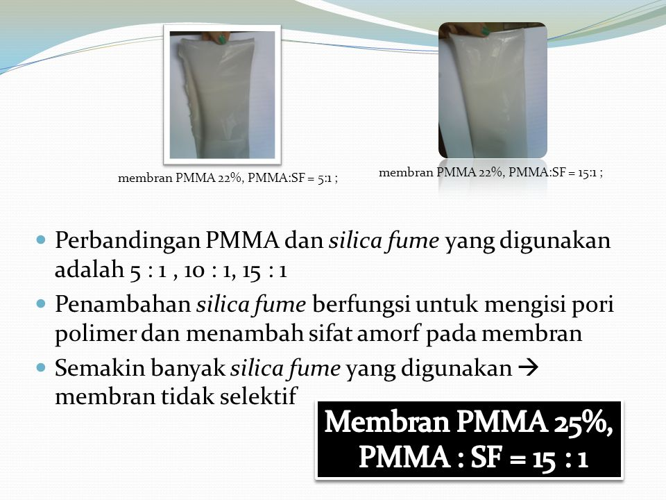 Membran PMMA 25%, PMMA : SF = 15 : 1