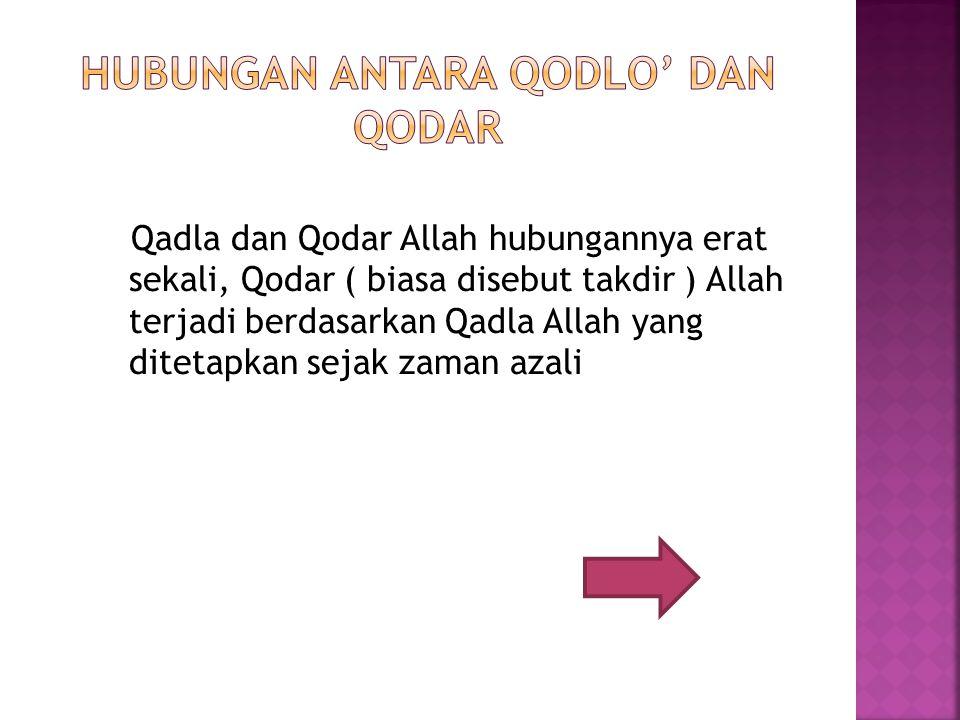 hubungan antara Qodlo' dan Qodar
