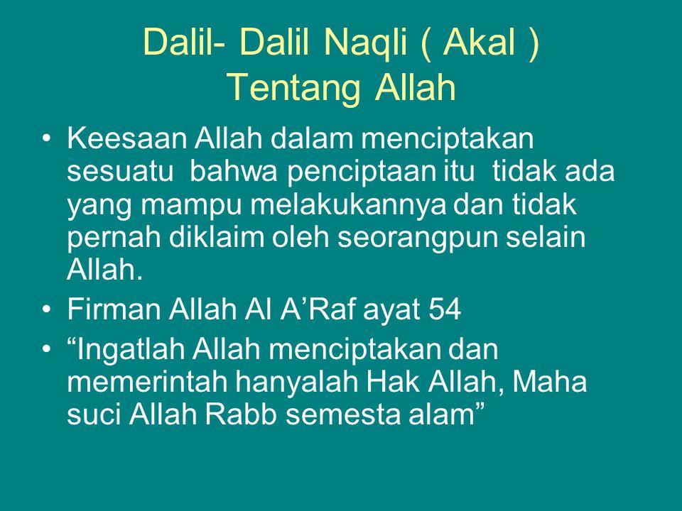 Dalil- Dalil Naqli ( Akal ) Tentang Allah
