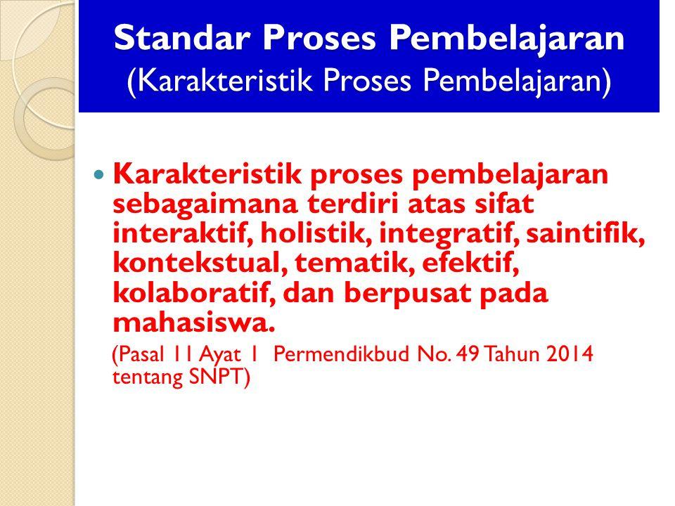 Standar Proses Pembelajaran (Karakteristik Proses Pembelajaran)