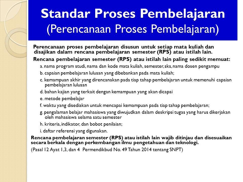 Standar Proses Pembelajaran (Perencanaan Proses Pembelajaran)