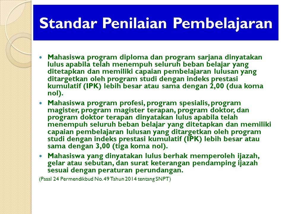 Standar Penilaian Pembelajaran