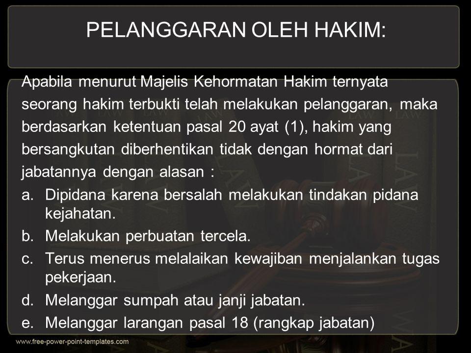 PELANGGARAN OLEH HAKIM:
