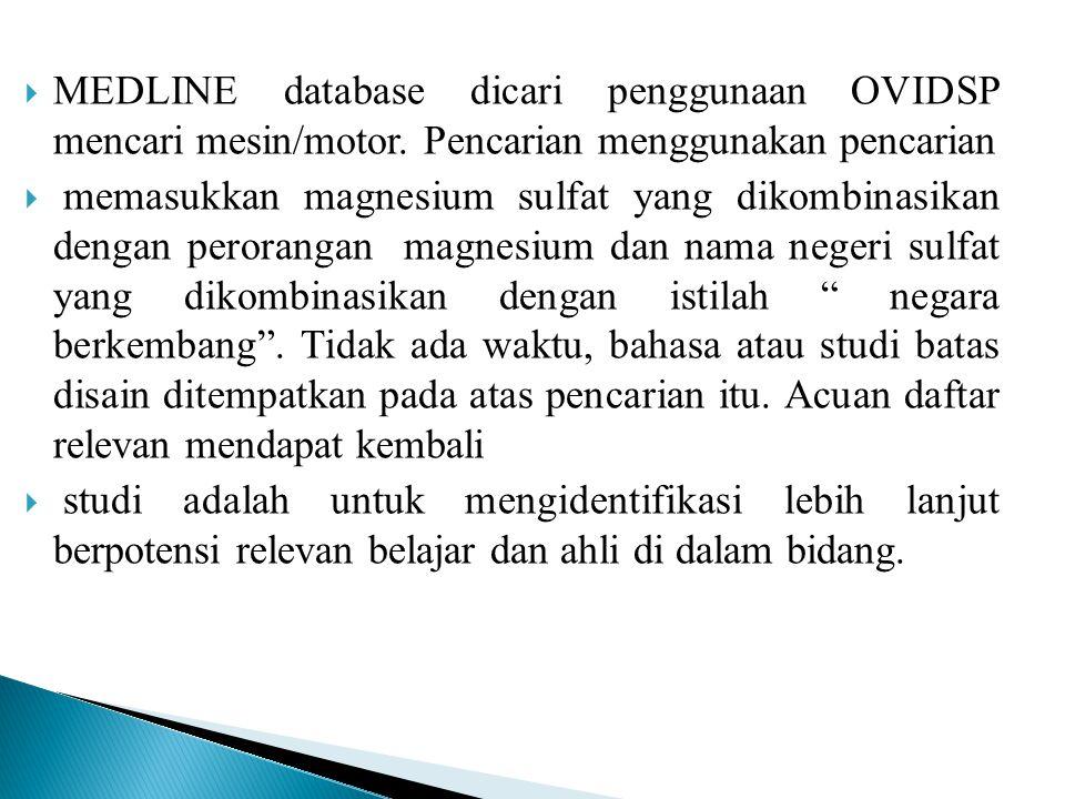 MEDLINE database dicari penggunaan OVIDSP mencari mesin/motor
