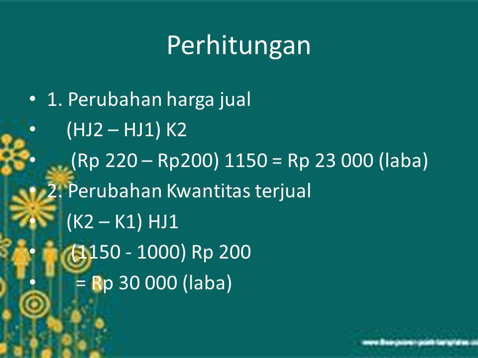Perhitungan 1. Perubahan harga jual (HJ2 – HJ1) K2