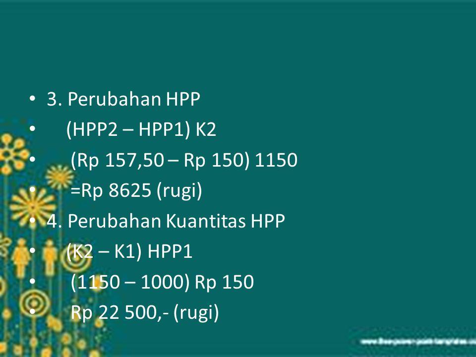 3. Perubahan HPP (HPP2 – HPP1) K2. (Rp 157,50 – Rp 150) 1150. =Rp 8625 (rugi) 4. Perubahan Kuantitas HPP.