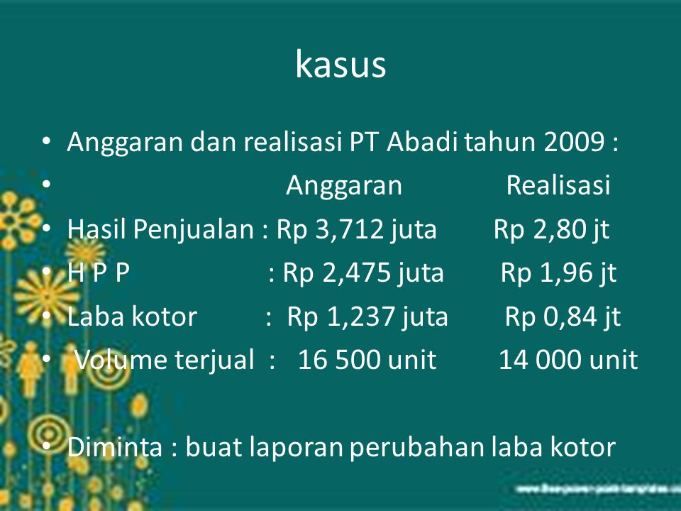 kasus Anggaran dan realisasi PT Abadi tahun 2009 : Anggaran Realisasi