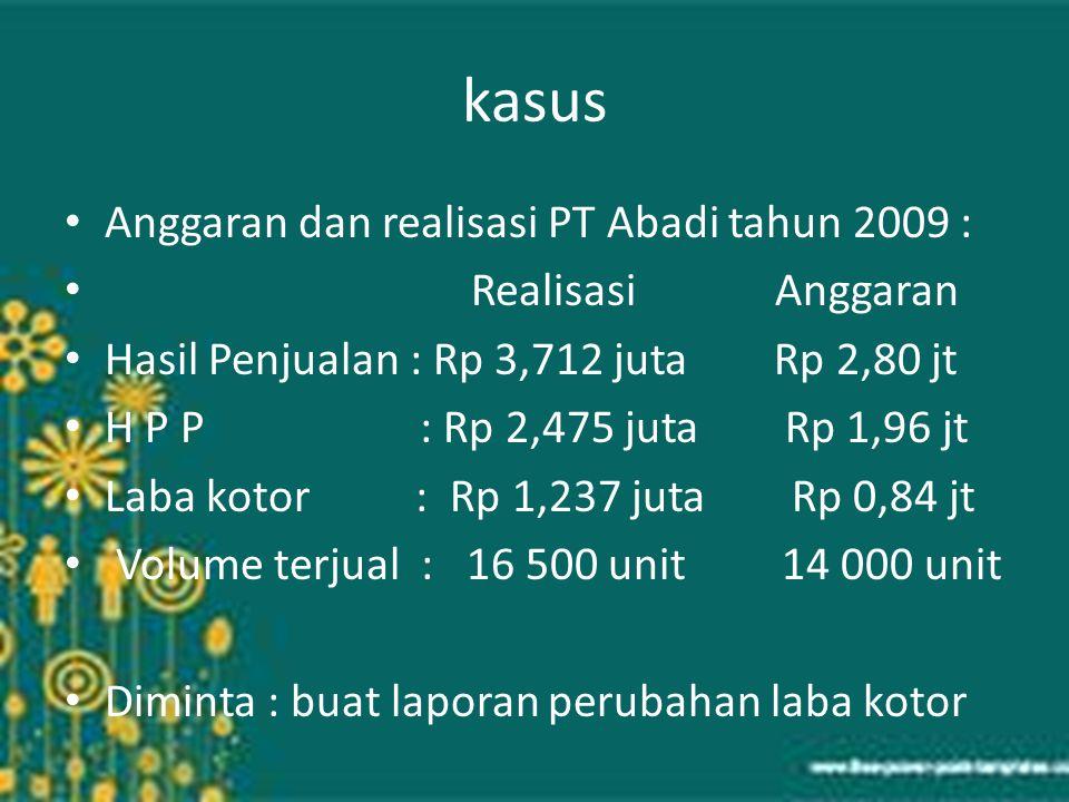 kasus Anggaran dan realisasi PT Abadi tahun 2009 : Realisasi Anggaran