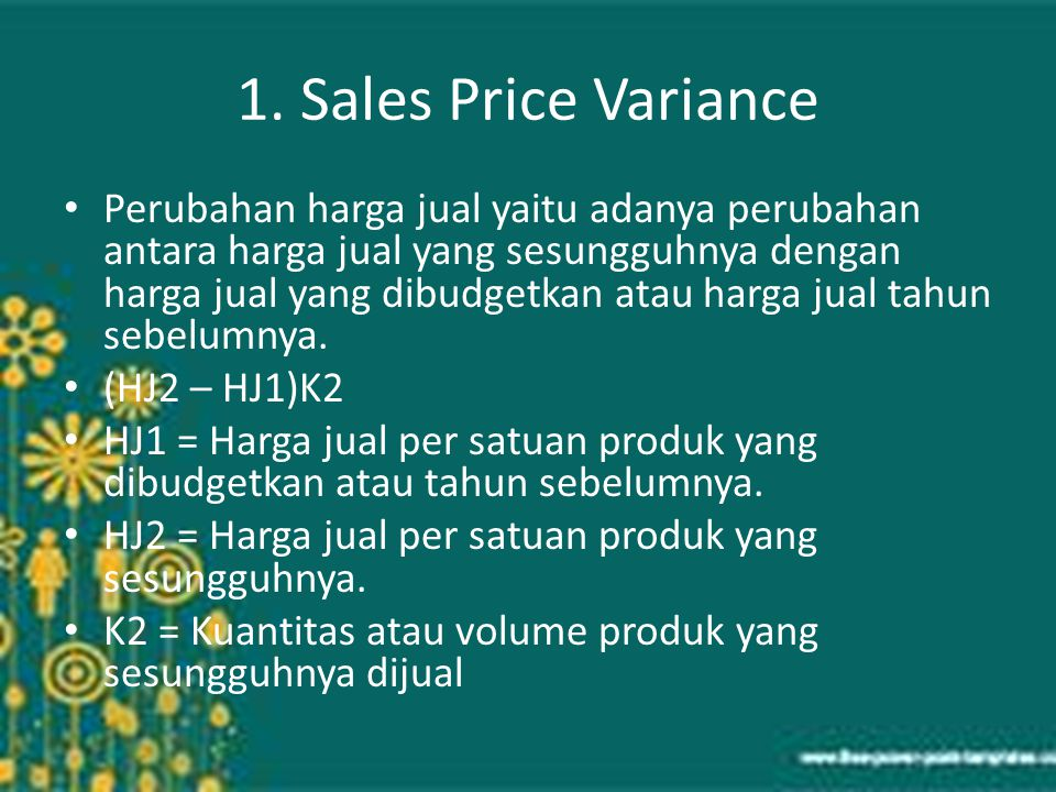 1. Sales Price Variance