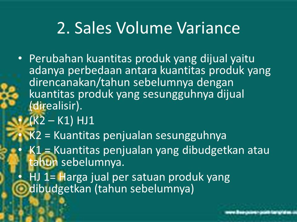 2. Sales Volume Variance