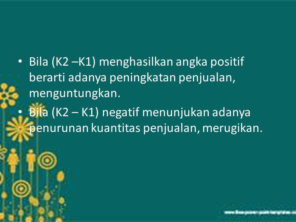Bila (K2 –K1) menghasilkan angka positif berarti adanya peningkatan penjualan, menguntungkan.