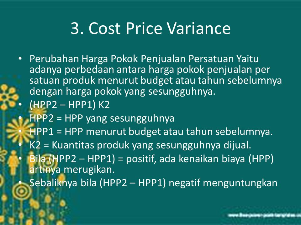 3. Cost Price Variance