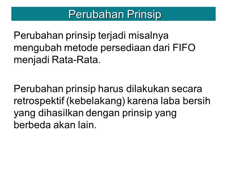 Perubahan Prinsip Perubahan prinsip terjadi misalnya mengubah metode persediaan dari FIFO menjadi Rata-Rata.
