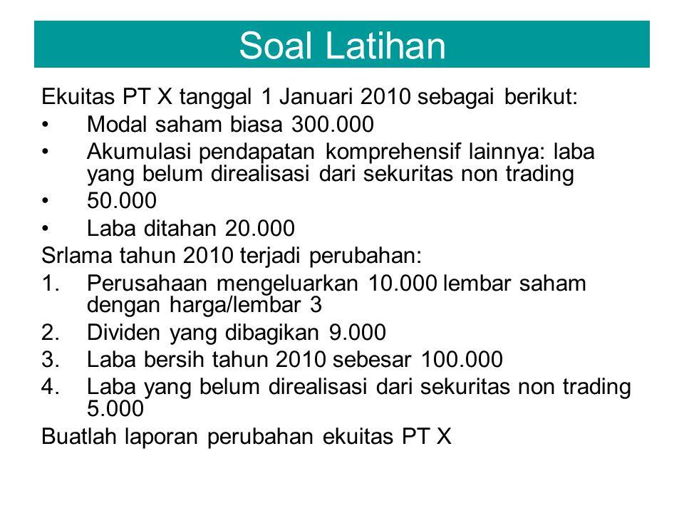 Soal Latihan Ekuitas PT X tanggal 1 Januari 2010 sebagai berikut: