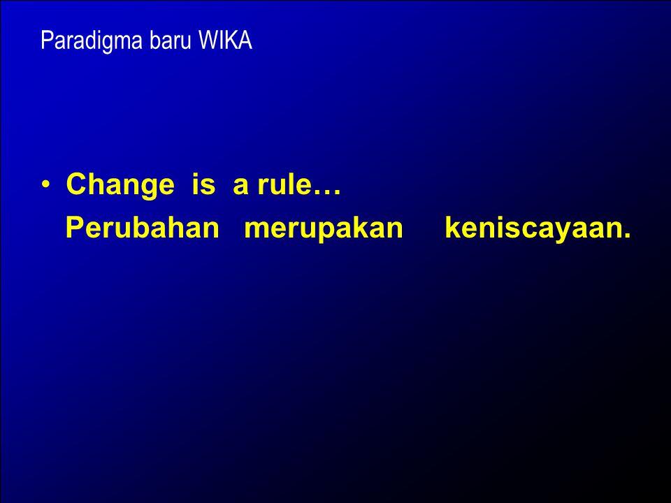 Perubahan merupakan keniscayaan.