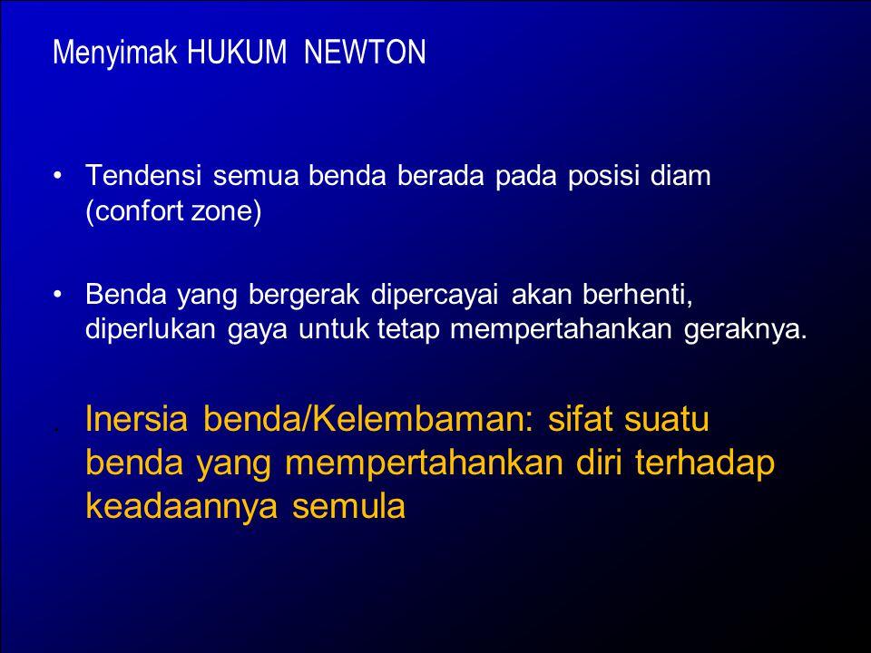 Menyimak HUKUM NEWTON Tendensi semua benda berada pada posisi diam (confort zone)