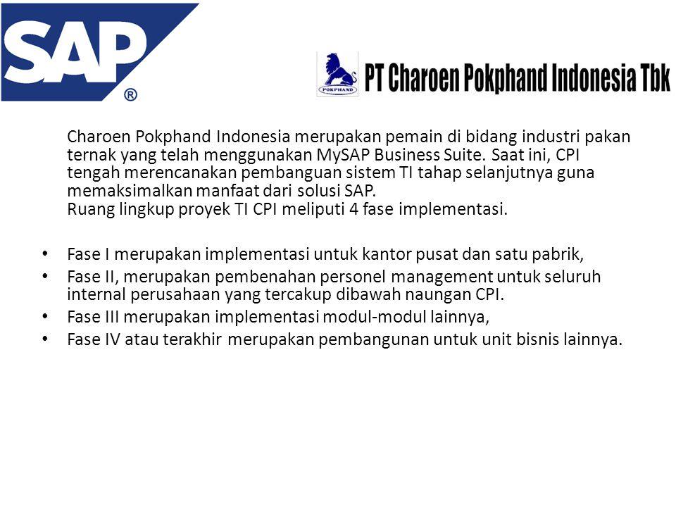 Charoen Pokphand Indonesia merupakan pemain di bidang industri pakan ternak yang telah menggunakan MySAP Business Suite. Saat ini, CPI tengah merencanakan pembanguan sistem TI tahap selanjutnya guna memaksimalkan manfaat dari solusi SAP. Ruang lingkup proyek TI CPI meliputi 4 fase implementasi.