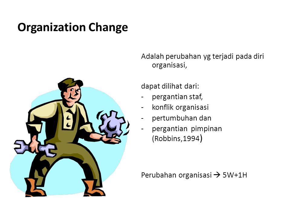 Organization Change Adalah perubahan yg terjadi pada diri organisasi,